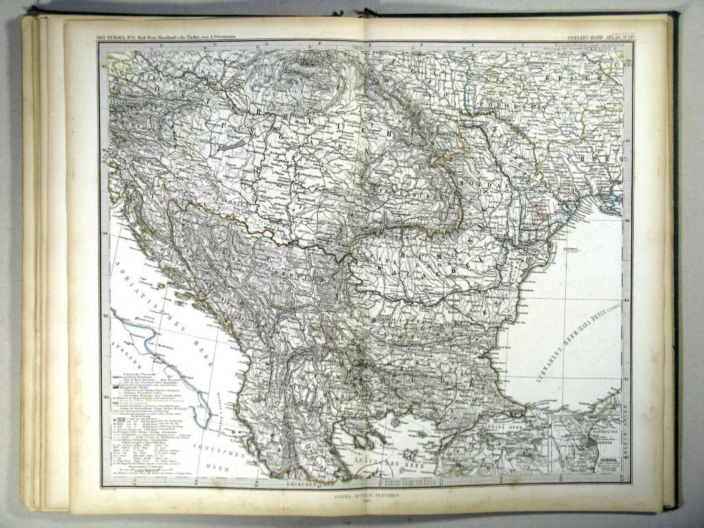 Карта Балкан, 1867 г.