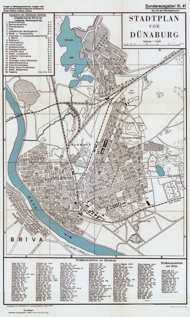 Карта Даугавпилса, 1940 г.