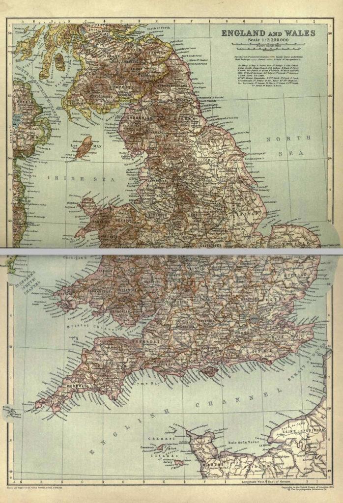 Карта Англии и Уэльса, 1910 г.