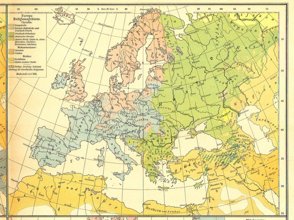 Карта распространения религий в Европе, 1899 г.