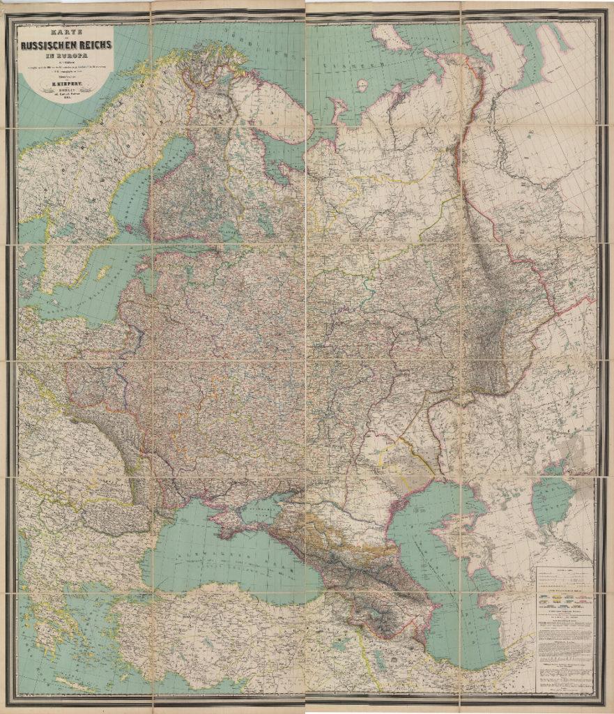 Карта европейской части России, 1868 г.