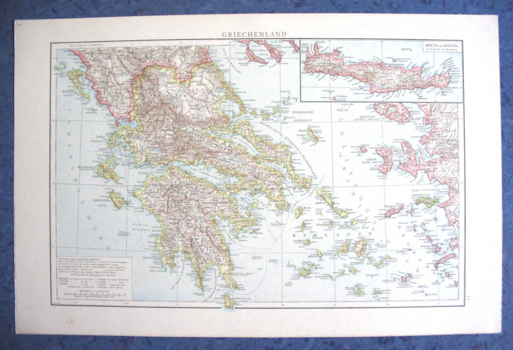 Карта Греции, 1887 г.