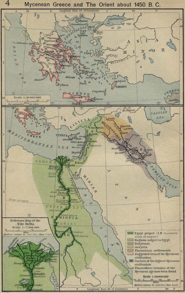 Карта греческих колоний, 1450 г. до н.э.