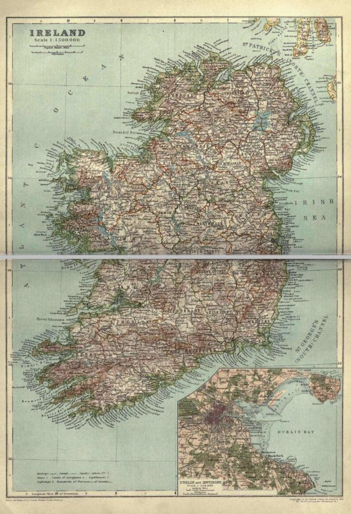 Карта Ирландии, 1910 г.