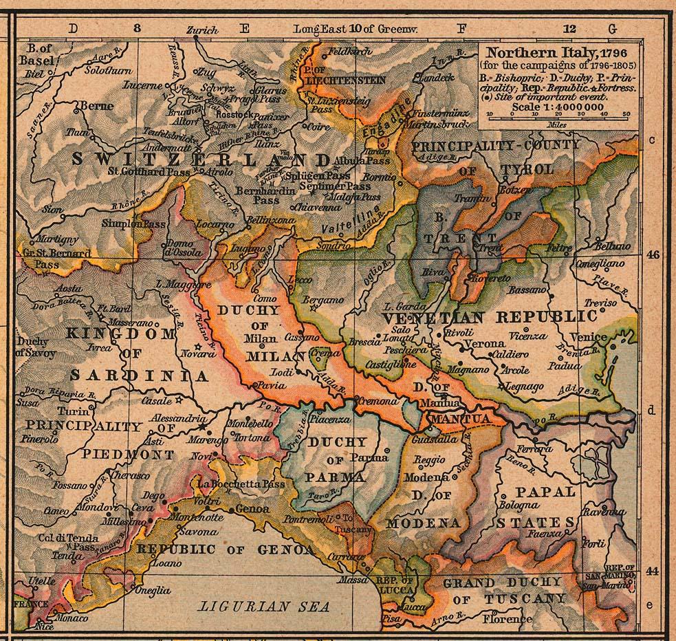 Карта Северной Италии, 1796 г.