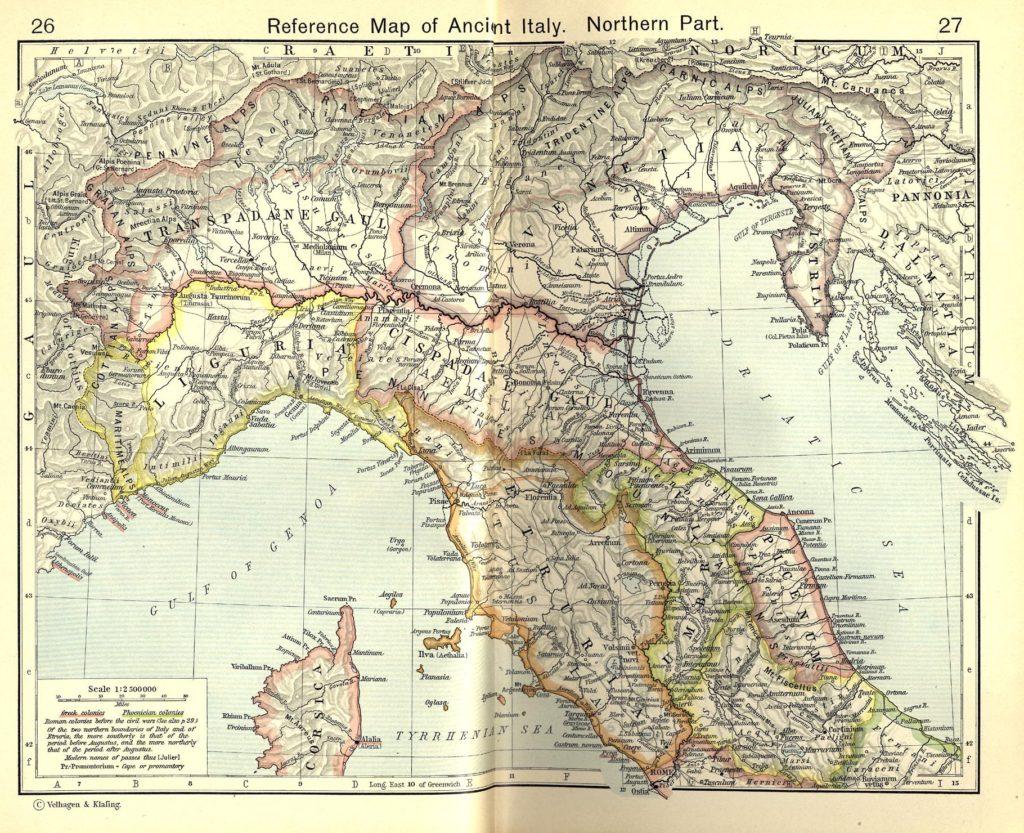 Карта Северной Италии, 1911 г.