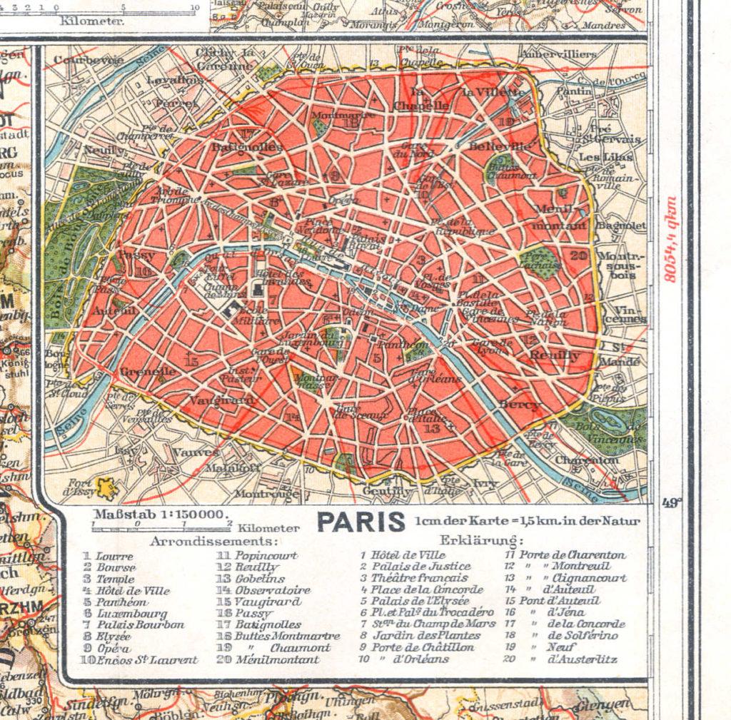 Карта Парижа, 1910 г.