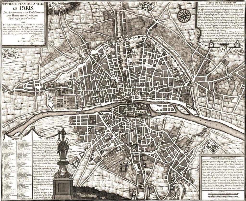 Карта Парижа, 1643 г.