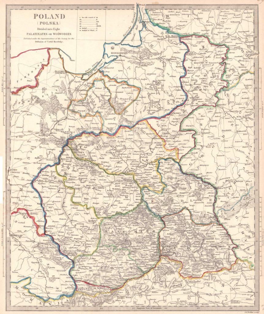 Карта Польши, 1831 г.