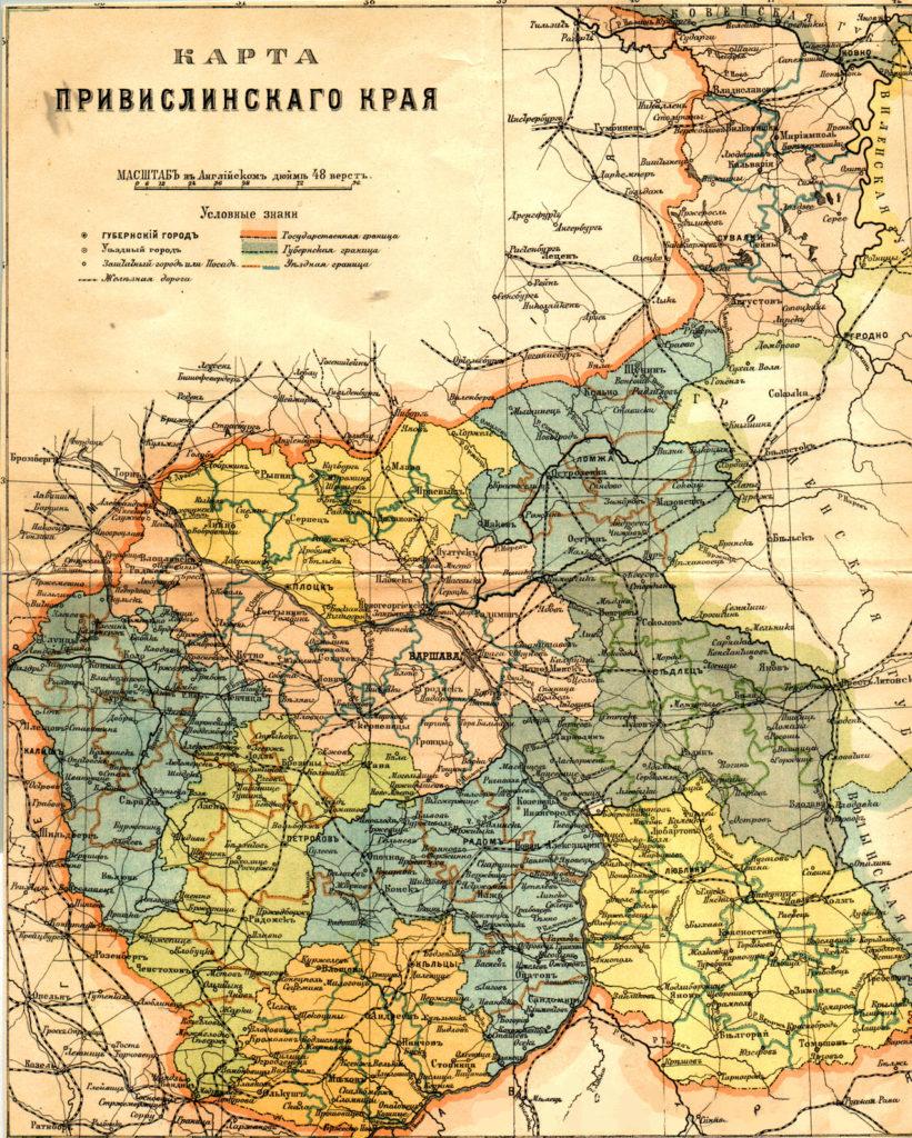 Карта Царства Польского, 1896 г.