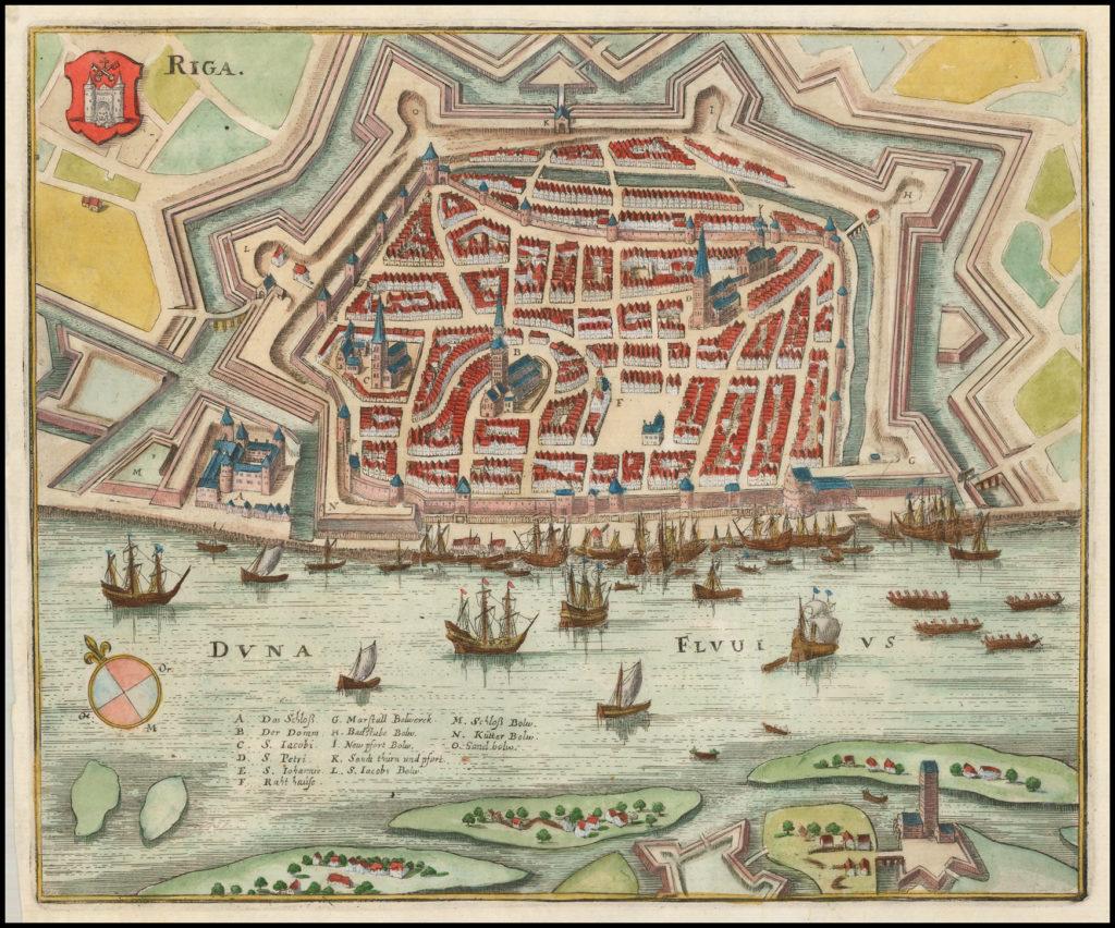 Карта Риги, 1650 г.