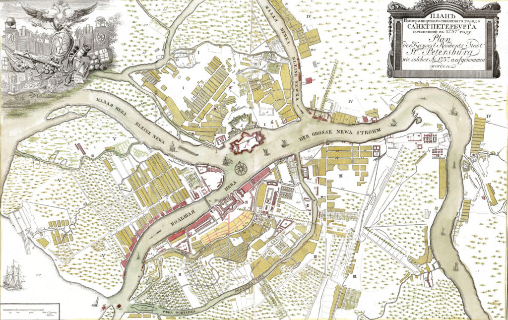 Карта Санкт-Петербурга 1737 г.