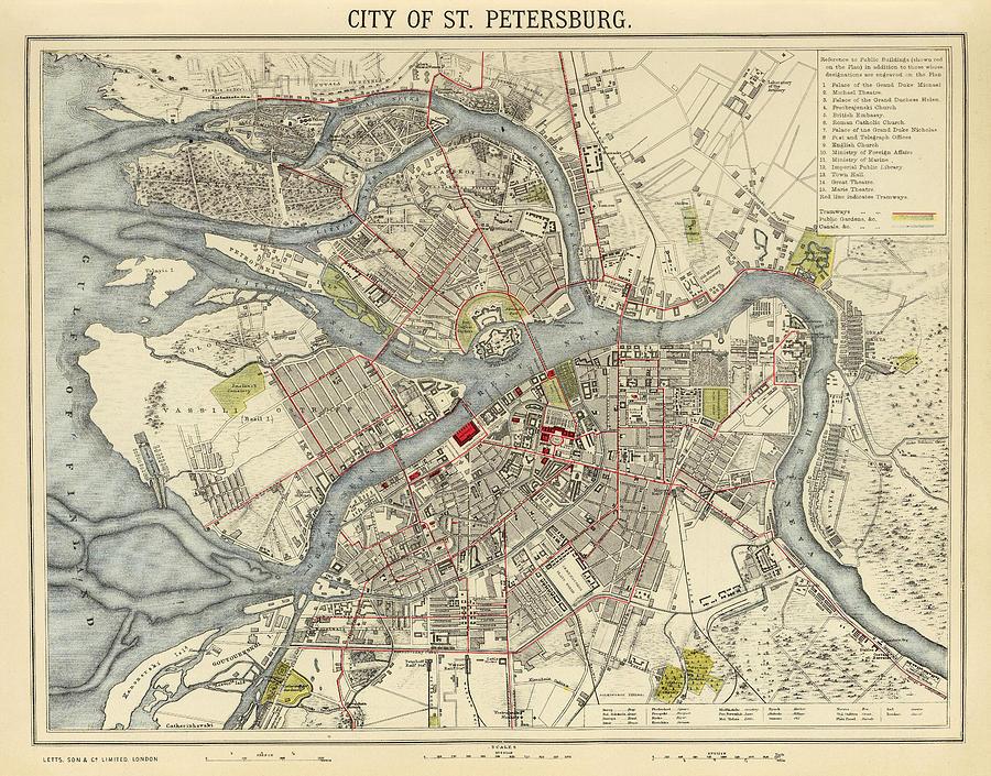 Карта Санкт-Петербурга, 1883 г.