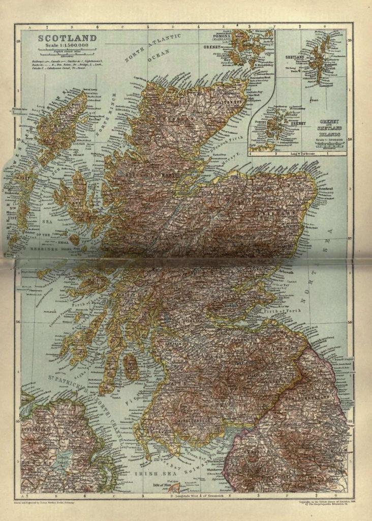 Карта Шотландии, 1910 г.
