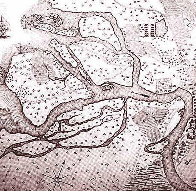 Карта шведского поселения 1698 г., на месте которого в 1703 г. был заложен Санкт-Петербург
