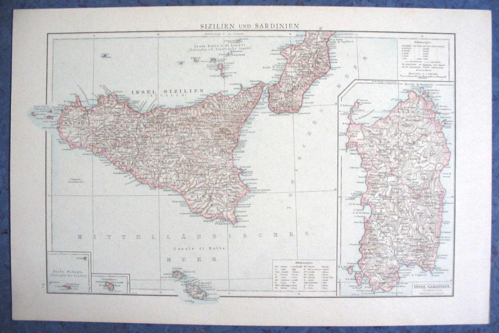 Карта Сицилии и Сардинии, 1887 г.