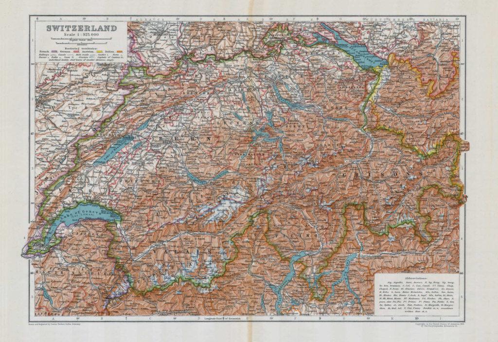 Карта Швейцарии, 1910 г.