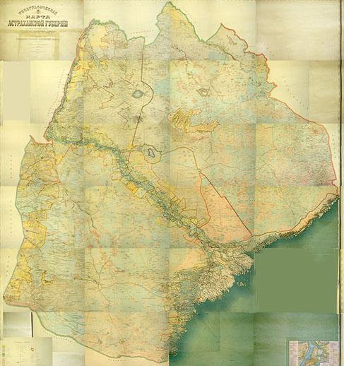 Топографическая карта Астраханской губернии, 1909 г.