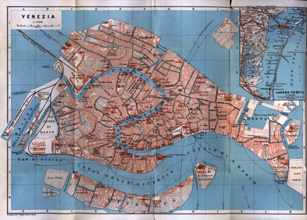 Карта Венеции, 1913 г.