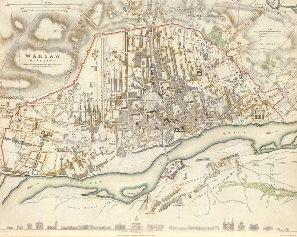 Карта Варшавы, 1831 г.