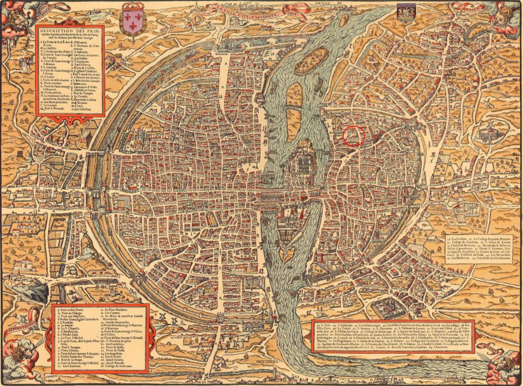 Карта Парижа, XVII в.