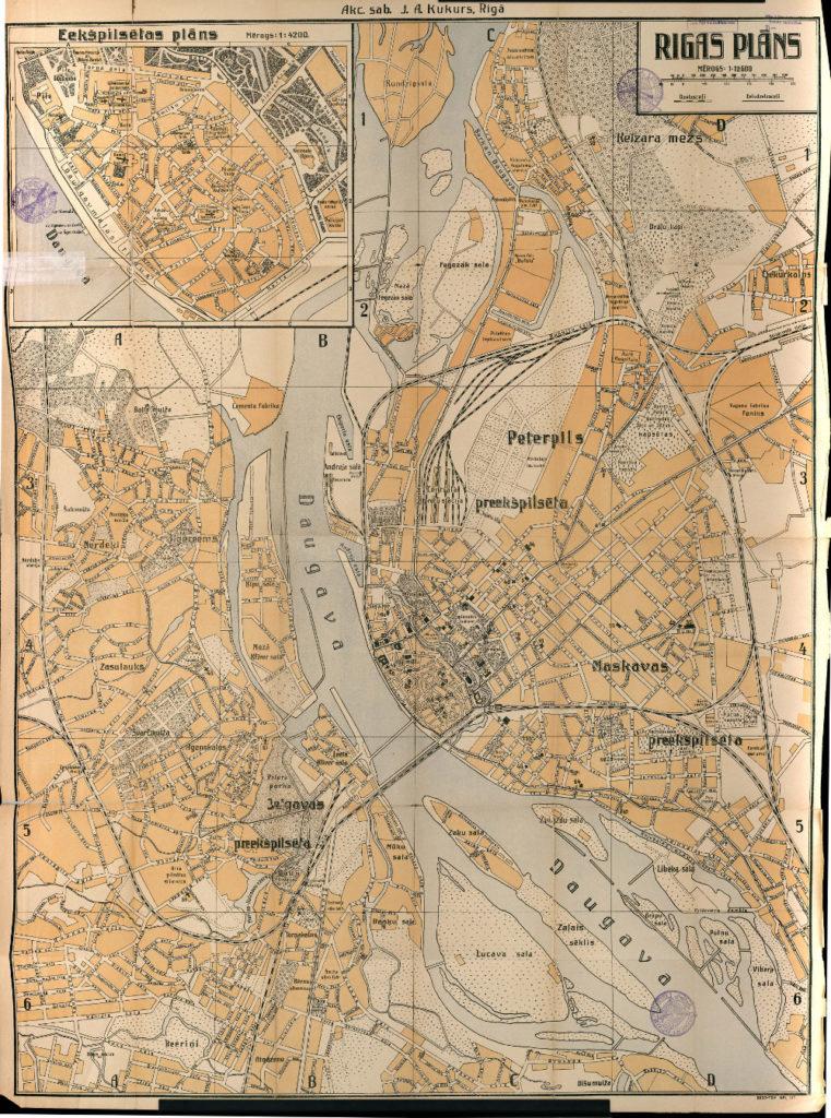Карта Риги, 1921 г.
