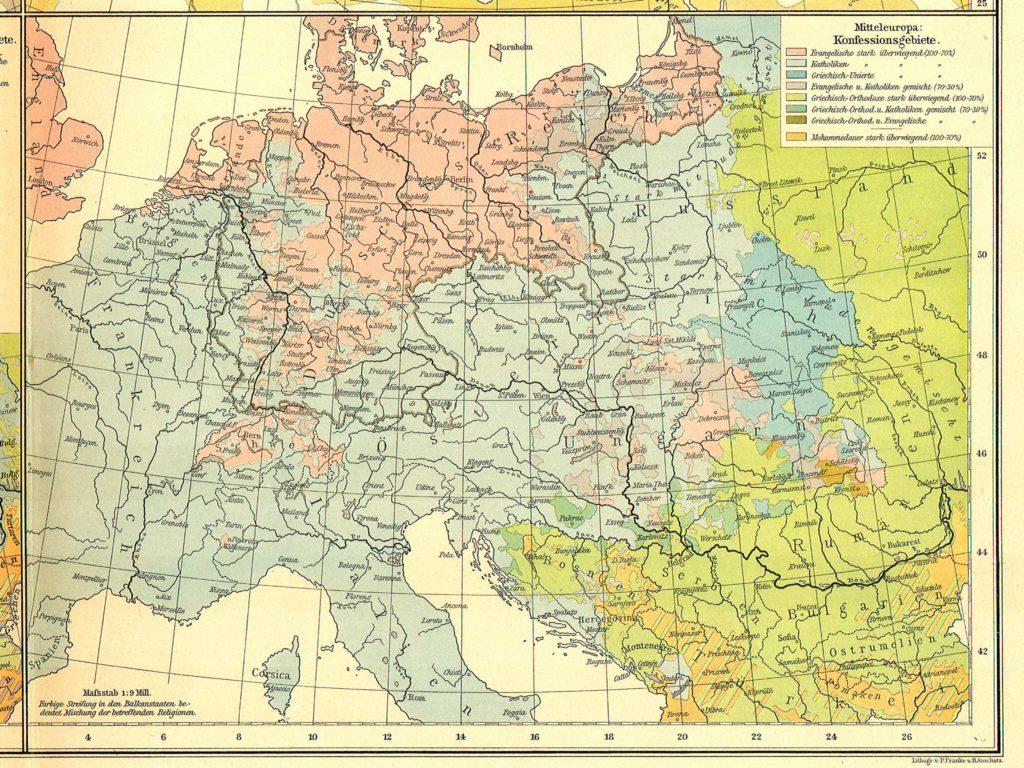 Карта распространения религий в Центральной Европе, 1899 г.