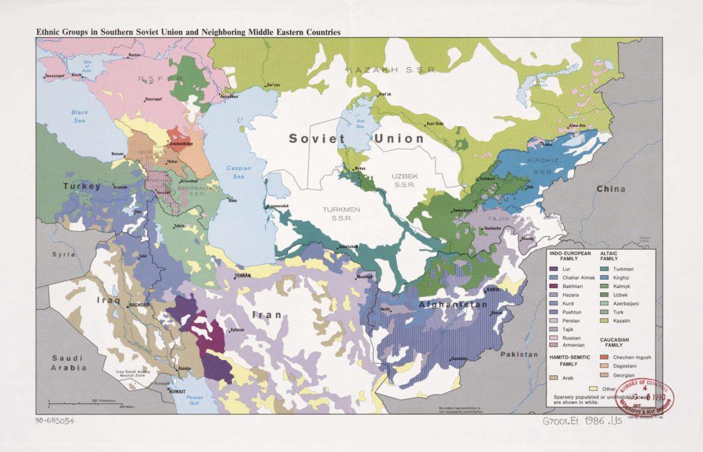 Этническая карта Ближнего Востока и Средней Азии, 1989 г.