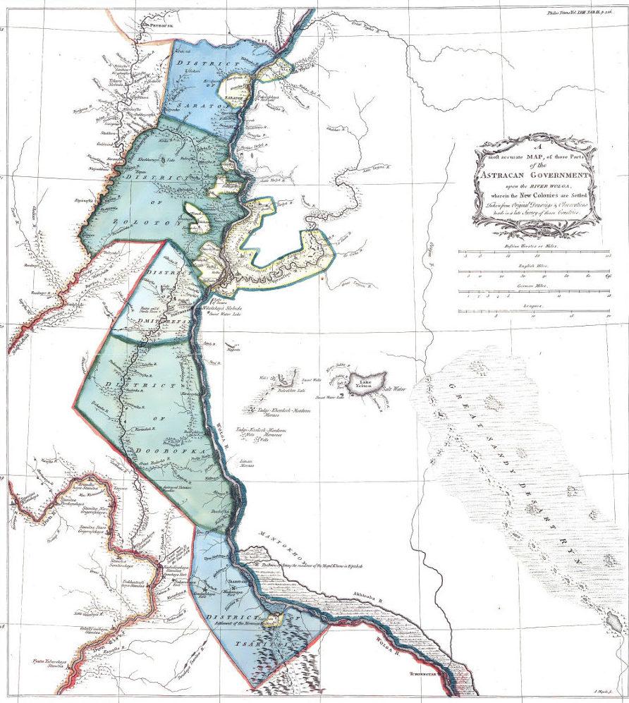 Карта колоний на Волге, 1765 г.