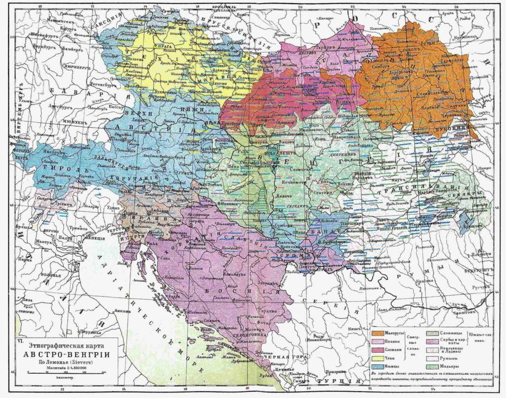 Этнографическая карта Австро-Венгрии, 1910 г.