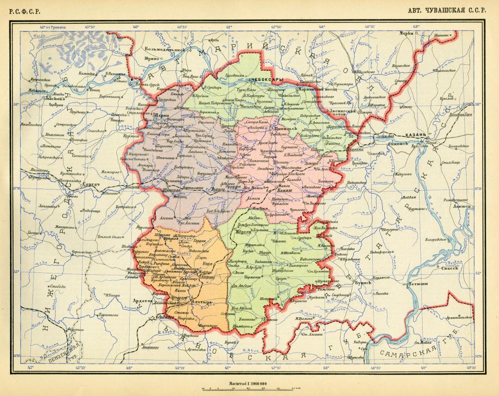 Карта Чувашской АССР,  1928 г.