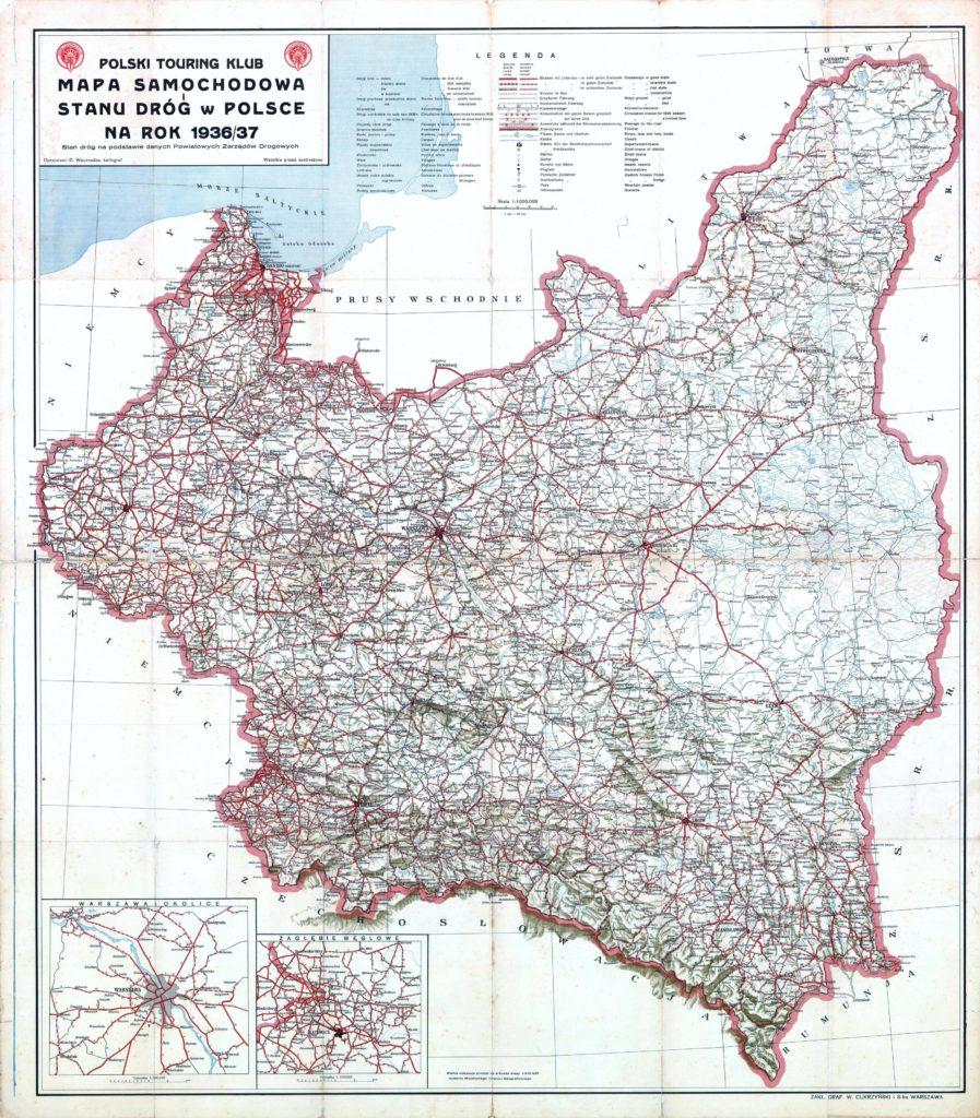 Карта автомобильных дорог Польши, 1936/37 гг.