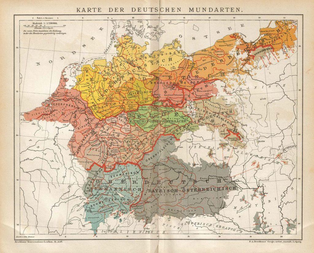 Карта диалектов немецкого языка, 1894 г.