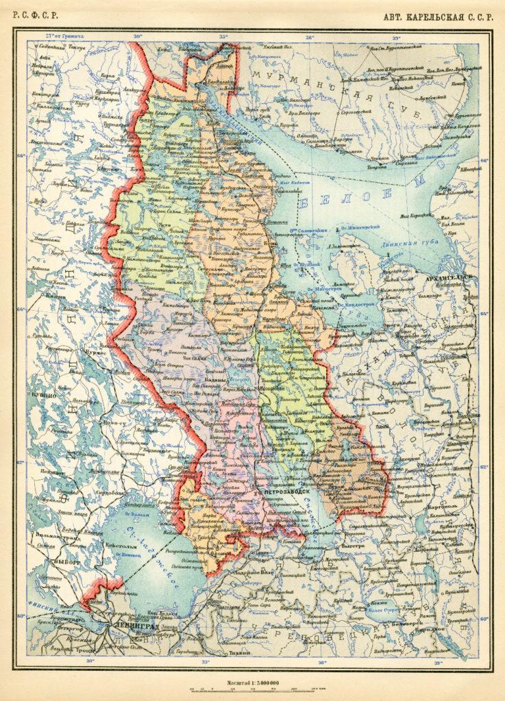 Карта Карельской АССР, 1928 г.