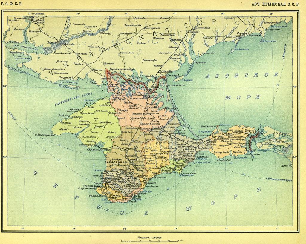 Карта Крымской АССР, 1928 г.