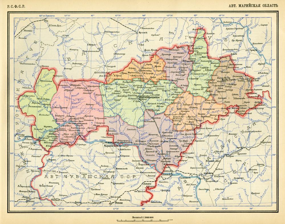 Карта Марийской АССР, 1928 г.