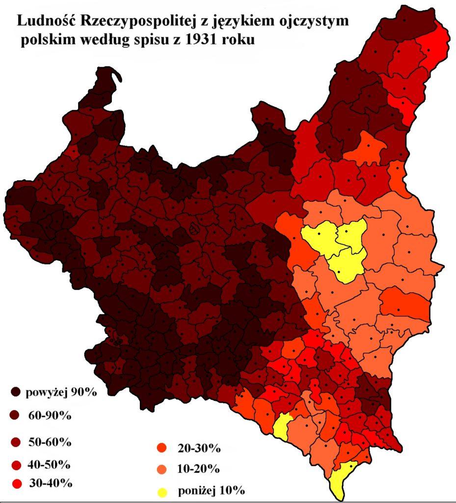 Лингвистическая карта Польши, 1931 г.