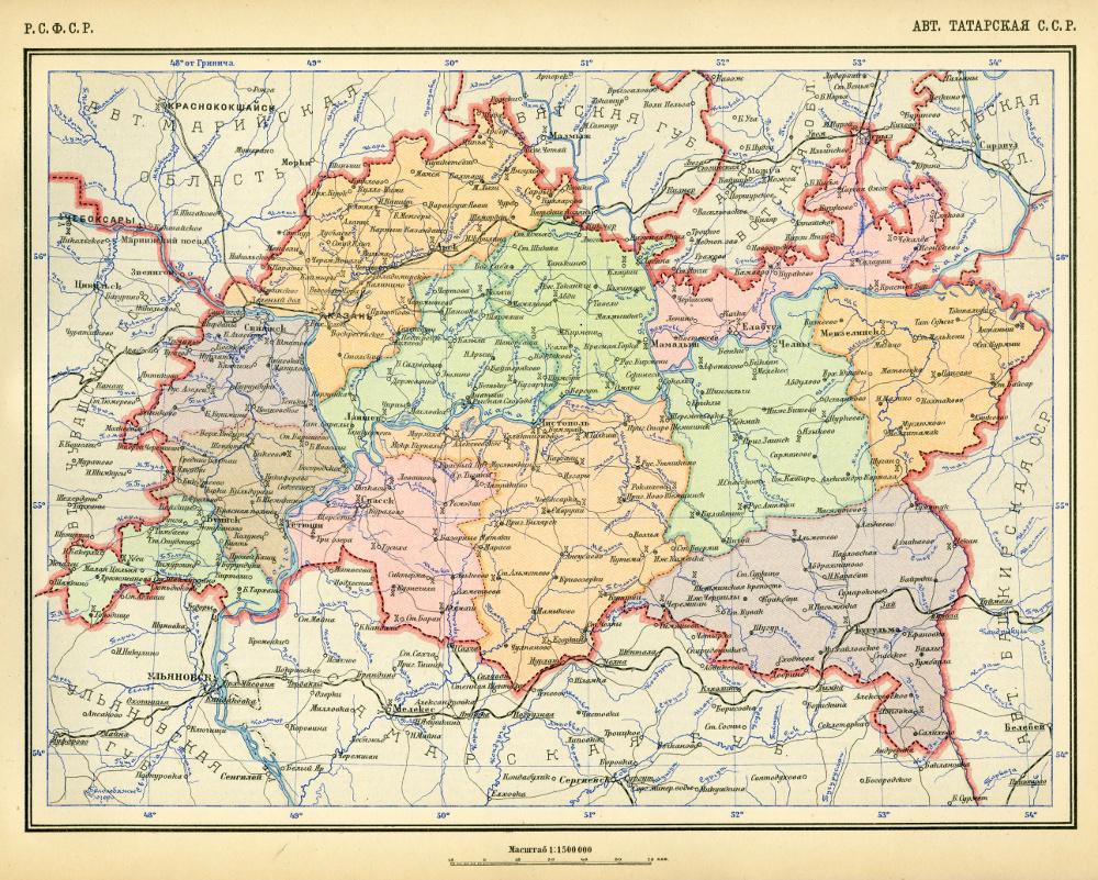 Карта Татарской АССР, 1928 г.