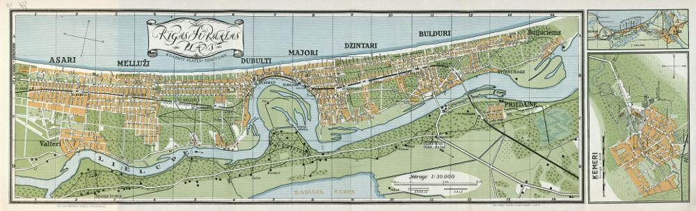 Карта Юрмалы, 1936 г.