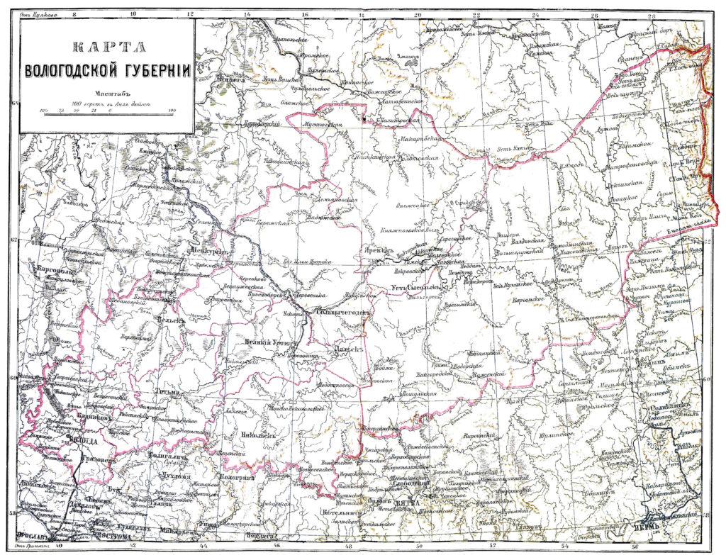 Карта Вологодской области, 1900 г.