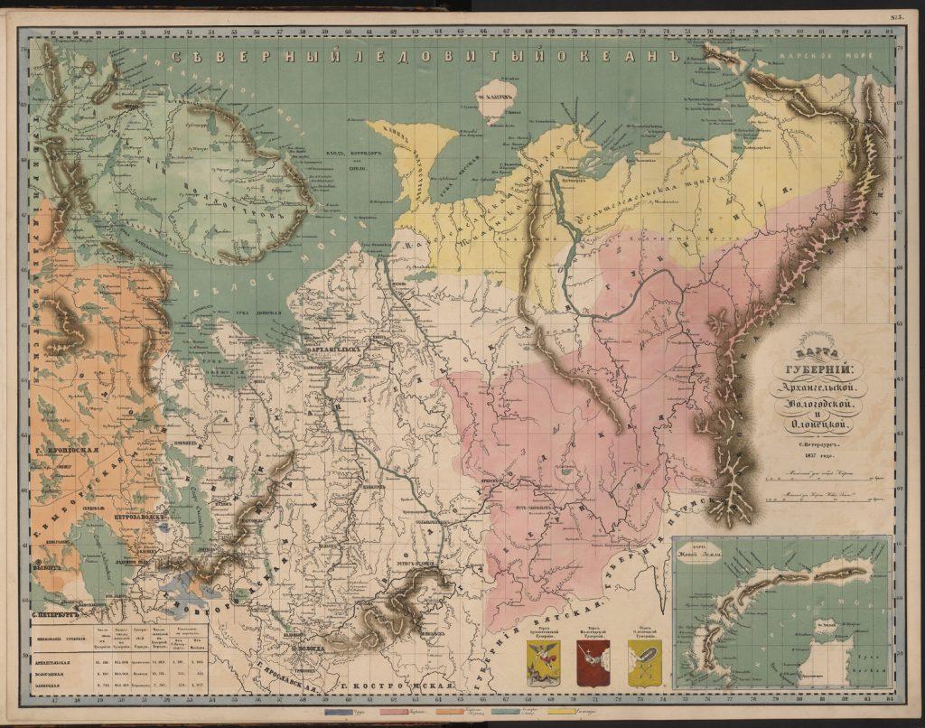 Этнографическая карта губерний Архангельской, Вологодской и Олонецкой