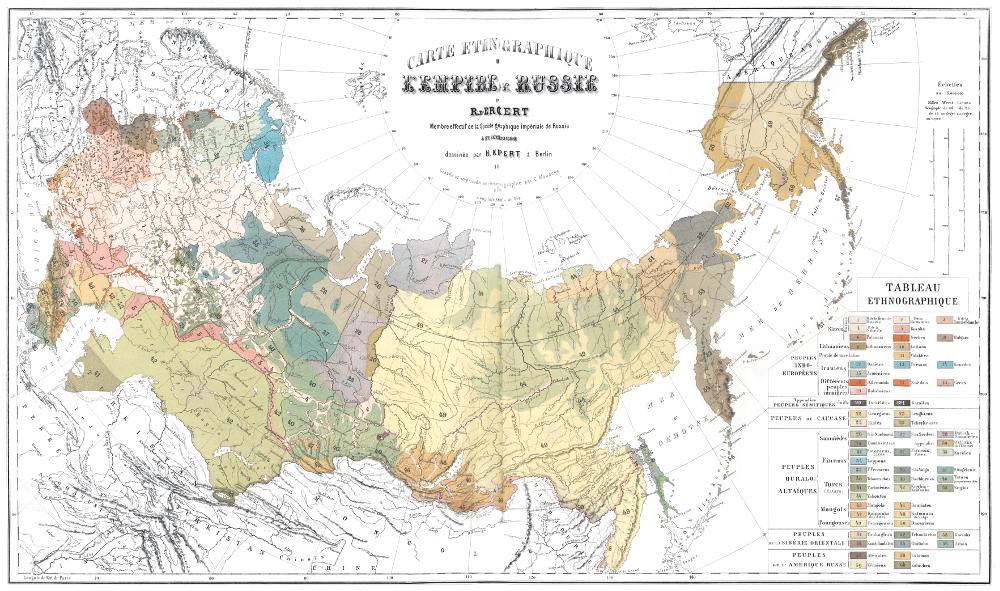 Этнографическая карта Российской империи, 1862 г.