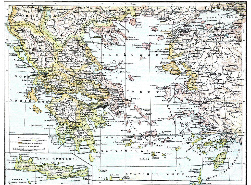 Карта Греции, 1901 г.