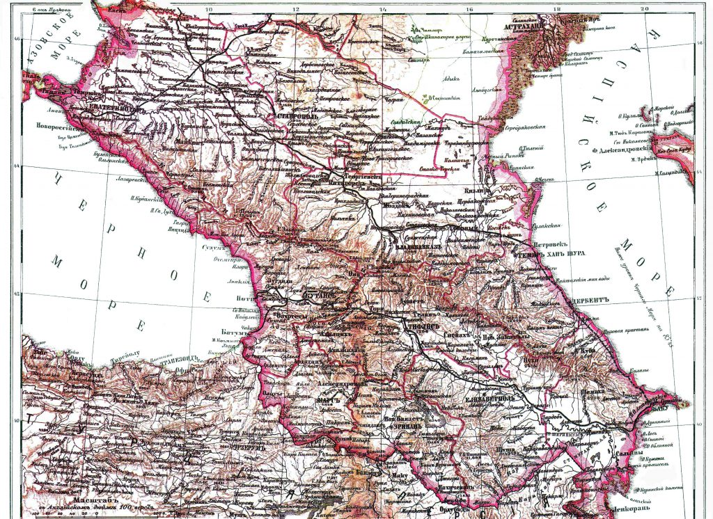 Карта Кавказа, 1901 г.