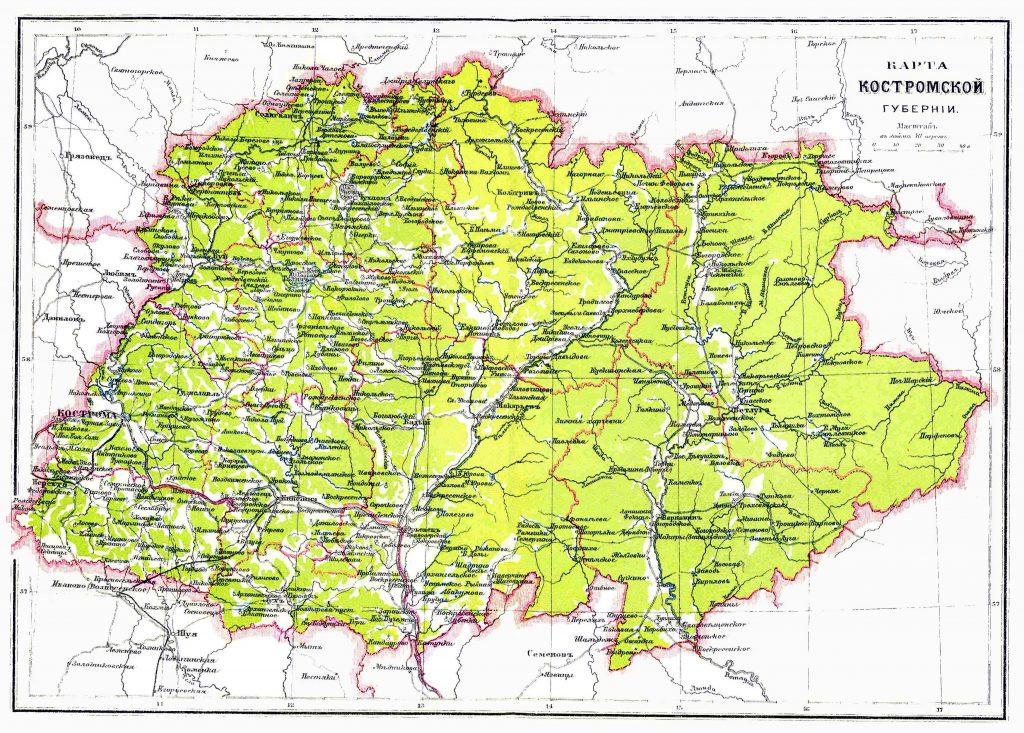 Карта Костромской губернии, 1901 г.