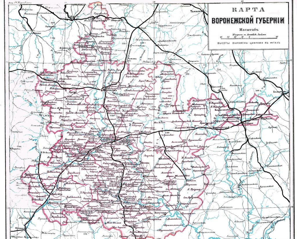 Карта Воронежской губернии, 1901 г.