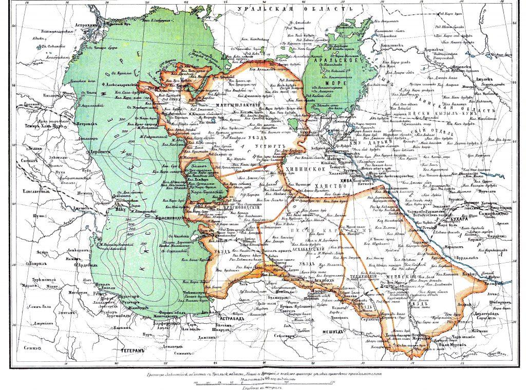Карта Закаспийской области, 1901 г.