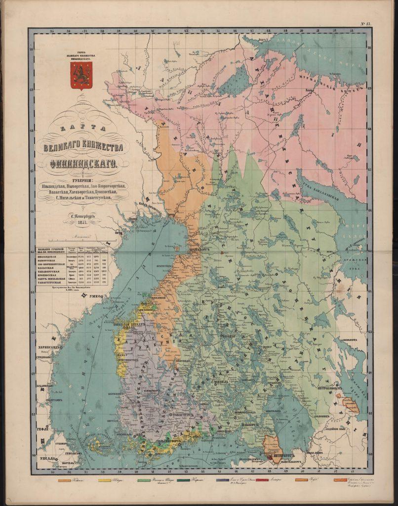 Этнографическая карта карта Великого Княжества Финляндского, 1860 г.