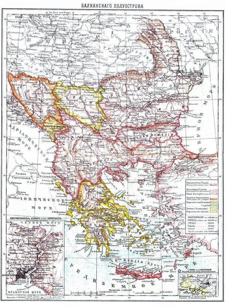 Карта Балканского полуострова, 1901 г.