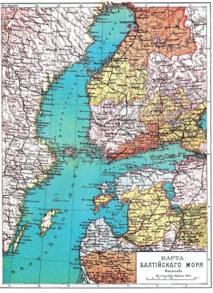 Карта Балтийского моря, 1901 г.